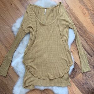 Free People Mustard Ventura Thermal Top Sz Small